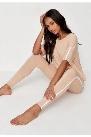 Missguided Side Stripe T Shirt And Leggings Loungewear Set