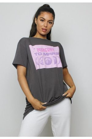 Missguided Tall Gray Mercury Oversized Graphic T Shirt