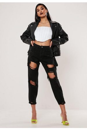 Missguided High Rise Ripped Rigid Mom Jeans