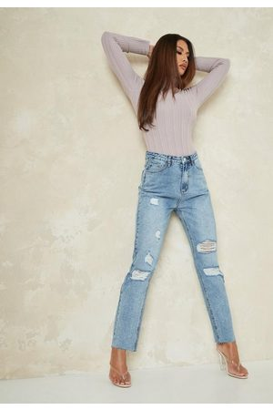 Missguided Light Straight Leg Distressed Jeans
