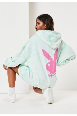 Missguided Playboy X Tie Dye Bunny Back Hoodie Dress