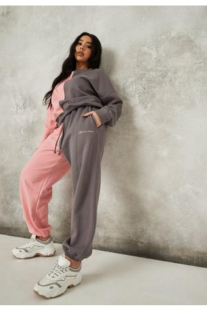 Missguided Women Sweatpants - Plus Size Charcoal Co Ord Colorblock Joggers
