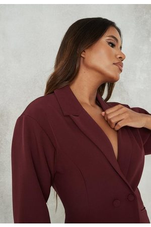 Missguided Petite Plum Co Ord Extreme Puff Sleeve Blazer