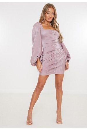 Missguided Satin Scoop Ruched Front Mini Dress