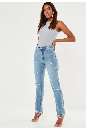 Missguided Slim Straight High Waisted Thigh Slash Jeans