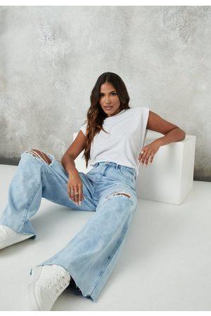 Missguided Women Boyfriend Jeans - Light Knee Rip Baggy Boyfriend Jeans