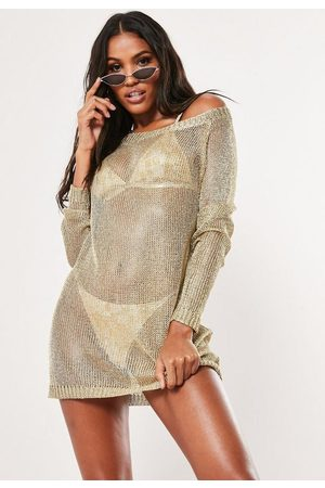 Missguided Metallic Off Shoulder Sweater Dress