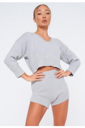 Missguided Gray Co Ord Knit Shorts