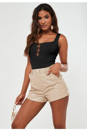 Missguided Rib Knit Button Down Square Neck Bodysuit