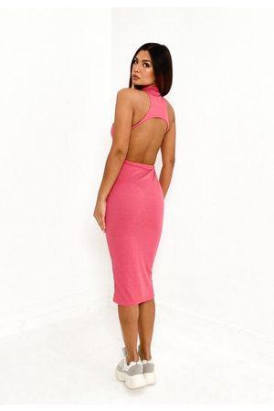 Missguided Rose Rib High Neck Cut Out Back Midi Dress