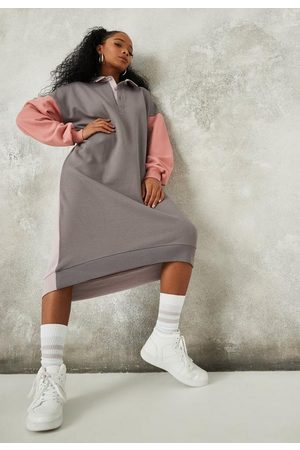 Missguided Petite Purple Colorblock Rugby Sweater Dress