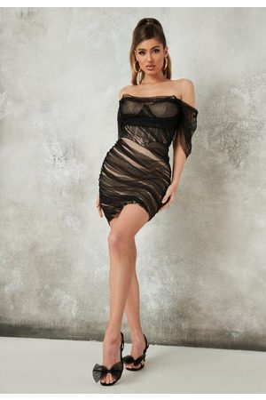 Missguided Mesh Bardot Mini Dress