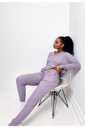 Missguided Women Sweats - Rib V Sweatshirt And Joggers Loungewear Set