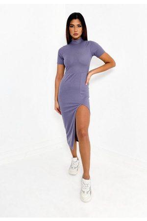 Missguided Gray Rib High Neck Split Front Midi Dress