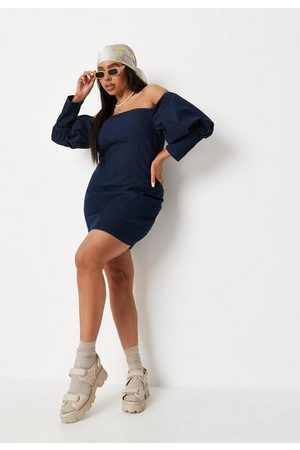 Missguided Women Party Dresses - Plus Size Puff Sleeve Bardot Denim Mini Dress