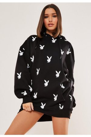Missguided Playboy X Repeat Print Oversized Hoodie Dress