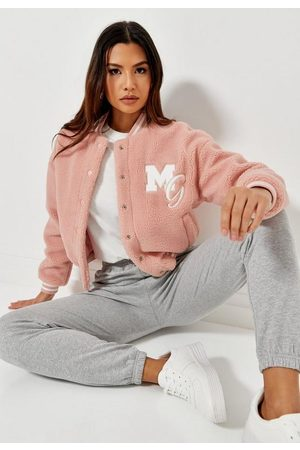 Missguided Pastel Borg Teddy Varsity Jacket