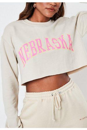 Missguided Stone Nebraska Cropped Brushed Back Graphic Sweatshirt