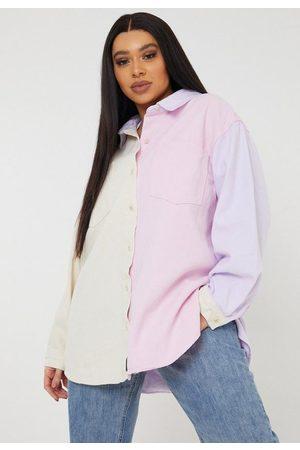 Missguided Women Denim - Plus Size Pastel Colorblock Denim Shirt