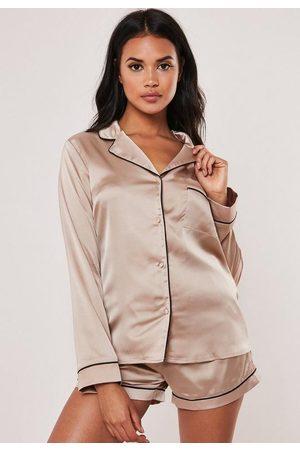 Missguided Women Pajamas - Satin Piping Detail Short Pyjama Set