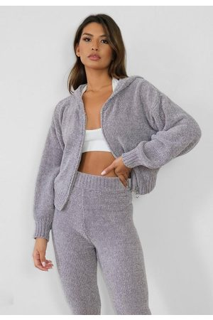 Missguided Gray Co Ord Chenille Zip Up Hoodie