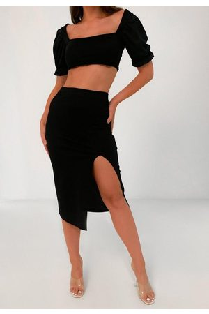 Missguided Milkmaid Top And Midi Skirt Co Ord Set