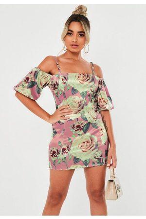 Missguided Petite Blush Floral Satin Puff Sleeve Mini Dress