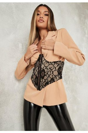Missguided Lace Overlay Corset Blazer