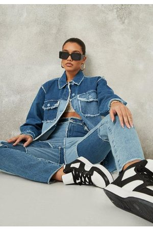 Missguided Co Ord Fray Detail Patchwork Oversized Denim Shirt