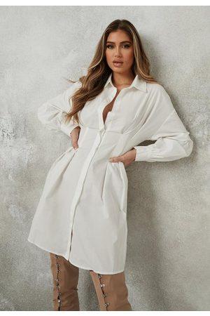 Missguided Women Casual Dresses - Poplin Pleated Waist Shirt Dress