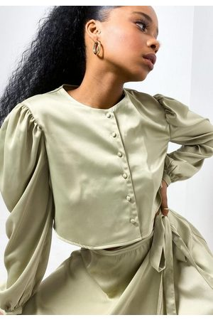 Missguided Tall Olive Co Ord Satin Button Cropped Shirt