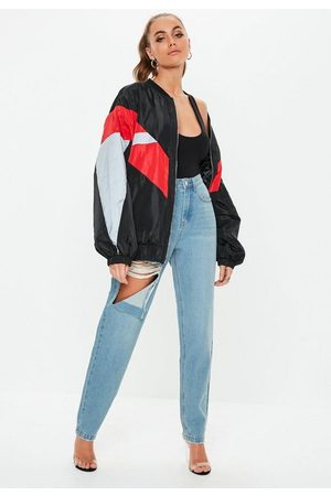 Missguided Tall Stone Wash Ripped Thigh High Waisted Mom Rigid Jeans