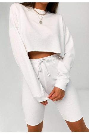 Missguided Crop Sweatshirt And Drawstring Shorts Co Ord Set