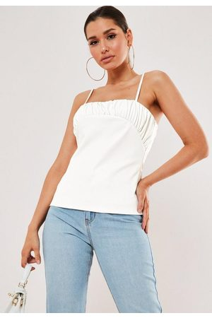 Missguided Faux Leather Ruched Bust Cami Top