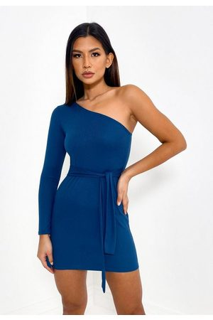 Missguided Rib One Shoulder Belted Mini Dress