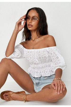 Missguided Broderie Shirred Waist Bardot Crop Top