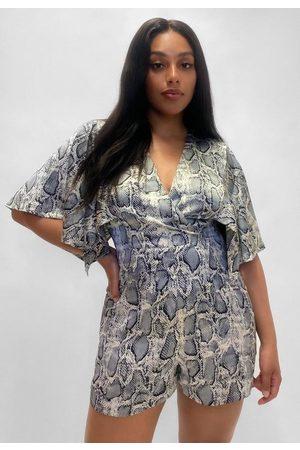 Missguided Plus Size Snake Print Kimono Sleeve Romper