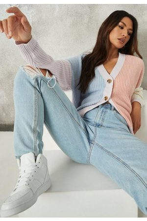 Missguided Colorblock V Neck Knit Cardigan