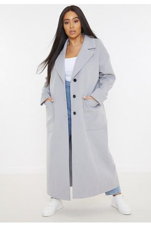 Missguided Plus Size Gray Oversized Long Coat