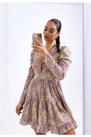 Missguided Petite Ditsy Floral Plunge Front Frill Mini Dress