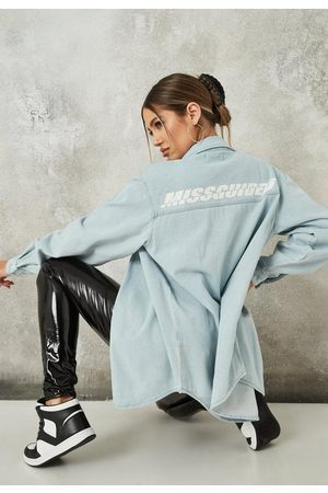 Missguided Women Denim - Light Branded Extreme Oversized Denim Shirt