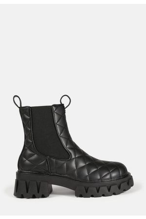 Missguided Quilted Pull Tab Chunky Ankle Boots