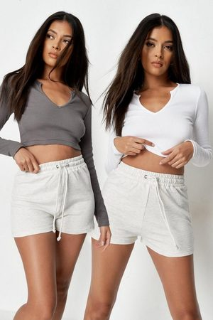 Missguided Women Crop Tops - White And Charcoal Rib Notch Neck Crop Top 2 Pack