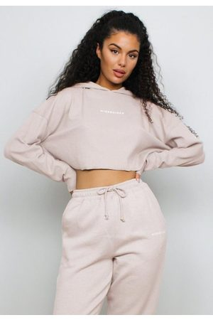 Missguided Sand Washed Brushed Back Cropped Hoodie