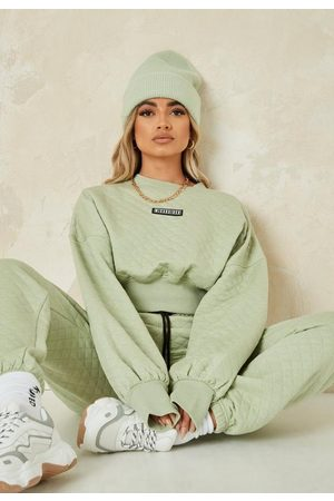 Missguided Women Sweatshirts - Sage Quilted Crop Sweater