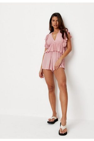 Missguided Women Playsuits - Petite Rose Frill Sleeve Plunge Romper