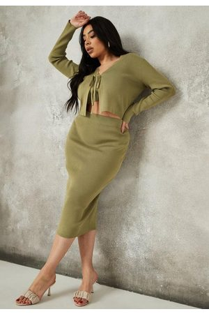 Missguided Plus Size Khaki Rib Knit Midi Skirt
