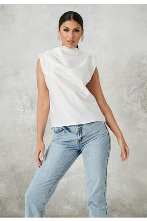 Missguided Ivory Satin Drape Sleeveless Blouse