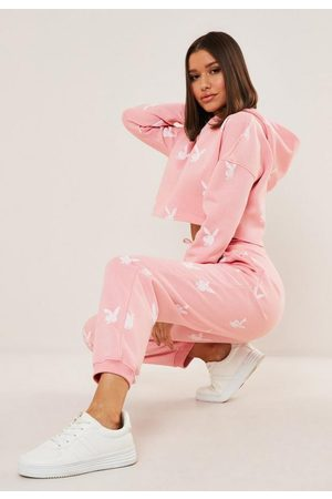 Missguided Women Sweatpants - Playboy X Bunny Repeat Print Oversized Joggers