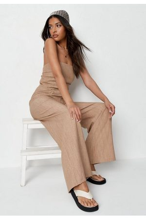 Missguided Tan Co Ord Textured Wide Leg Pants